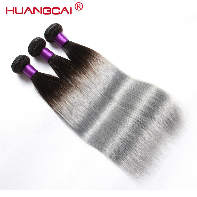 Brazilian Straight Hair Weaves T1B/Grey Ombre Hair 3 PCS/LOT Non Remy Ombre Human Hair Extensions Free Shipping Huangcai
