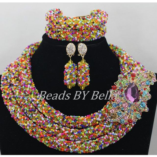 Multicolor  Crystal Beads Necklace New Nigerian Wedding African Beads Jewelry Set Indian Bridal Jewelry Sets Free ShippingABF534