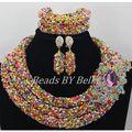 Perlas de Cristal Multicolor Collar Nueva Nigeriano Boda Perlas Africanas Joyería Conjunto Joyería Nupcial India Fija El Envío ShippingABF534
