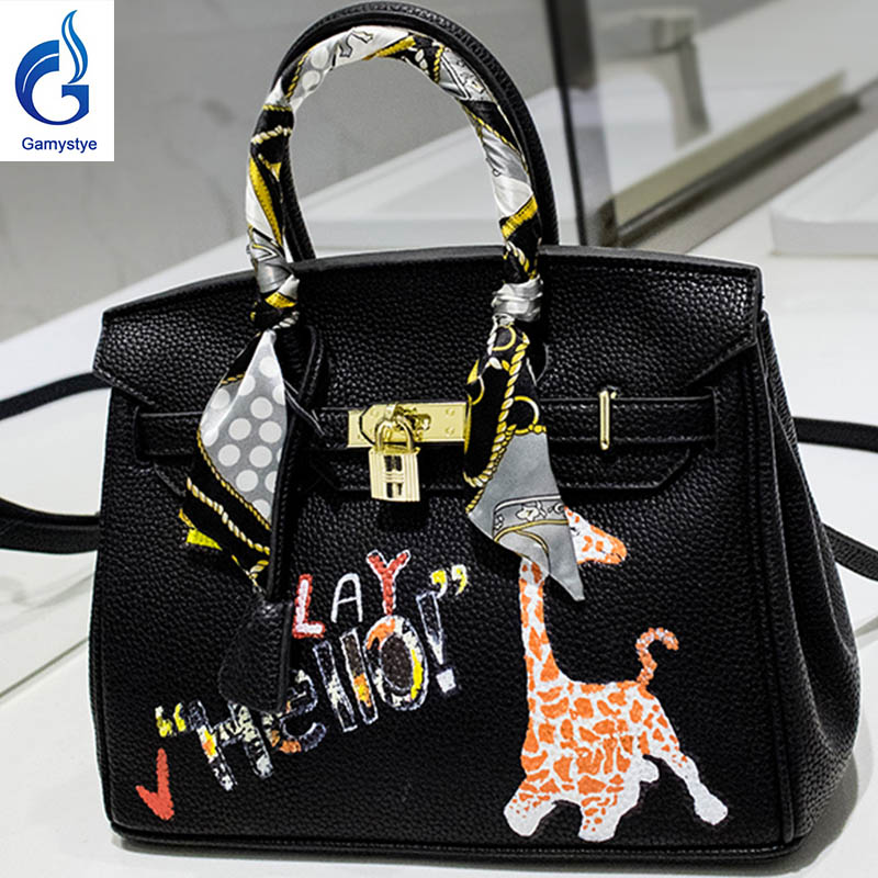 Say hello pink deer bag Genuine Leather women famous Messenger Bag Hand Painted Custom painting ladies totes handle clutch YG 和18岁say hello