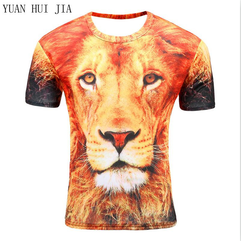 2017Men fashion 3D animal creative T shirt flash / lion / retro / 3D printing breathable short sleeve round neck T-shirt