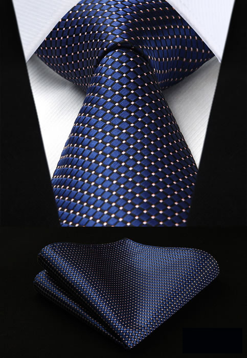 HISDERN Dot Striped 100% Silk Classic Man's Tie Necktie