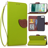 For Iphone 4 4s 5 5s 5C SE 6 6s 7 Plus Leather Case Leaf Card