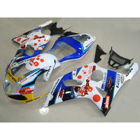 Lowest price fairings set for SUZUKI K2 00 01 02 GSXR 1000 fairing kit GSX R1000 2000 2001 2002 white blue DARK DOG bodykit LR44