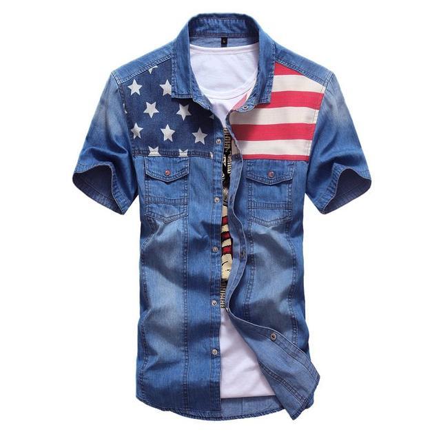 outlet 35c68 110e2 Kenntrice Camicia di Jeans Maschio Jeans Uomo Vintage Manica Corta Shirt  American Flag Camicia di Estate Top Tees Uomo Abbigliamento Camisa masculina