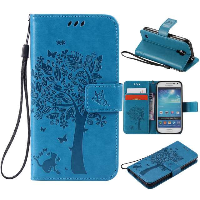 For coque Samsung S4 mini case For Fundas Samsung Galaxy S4 mini i9190 3D Tree Cat Pattern Wallet Magnet Flip Cover Leather Case