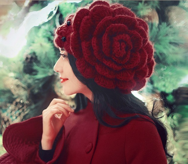 YIFEI big flowers Beads Caps sweet women winter hat Beanies Lady Headgear Beanies Women's Winter Hats female Wool Knitted Hat