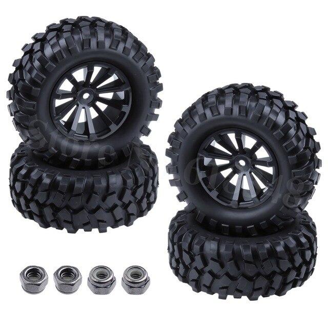 "4pcs/Lot Rubber 1.9"" Tires Tyre & Wheel Rim Hex:12mm For 1/10 RC Rock Crawler Racer Car HSP Pangolin Redcat Everest HPI King"