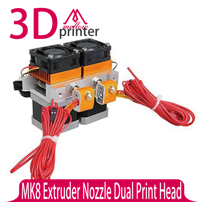 3D Printer Head Latest Upgrade MK8 Extruder Nozzle 0.4mm Dual Print Head Makerbot For 3D Printer 3d printer head latest upgrade mk8 j
