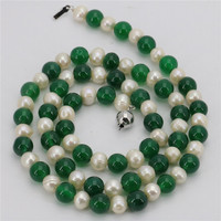 Green Agate White Near Round Fresh Water Shell Pearl Necklace Long Sweater Chain Beads Jewelry Natural