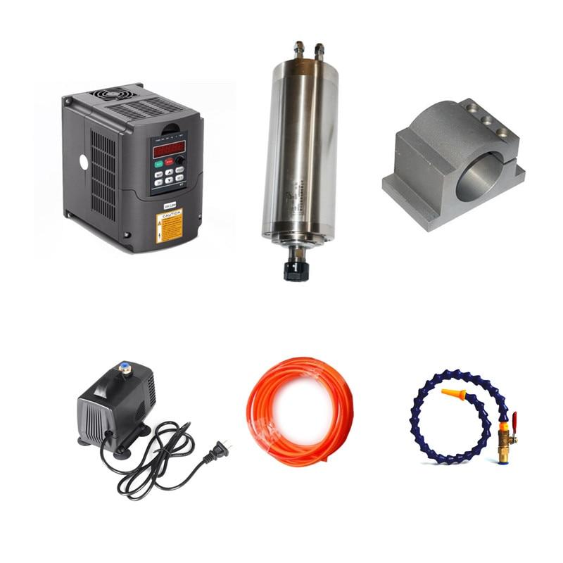 1.5KW Spindle CNC Router Motor ER11 2.2kw Inverter VFD 80mm Spindle clamp water cooling spindle sets 1pcs 0 8kw er11 220v spindle motor and matching 800w inverter inverter and 65mmmount bracket clamp