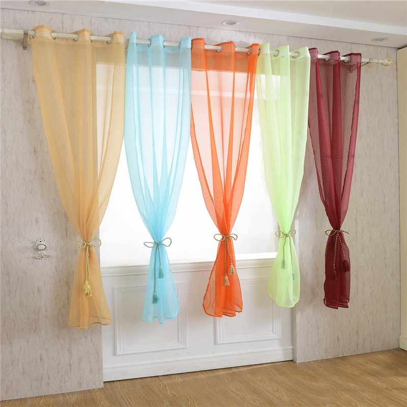 Pure Color Voile Curtain Transparent Tulle Wedding Scenery Party Door Drape Panel Sheer P184c