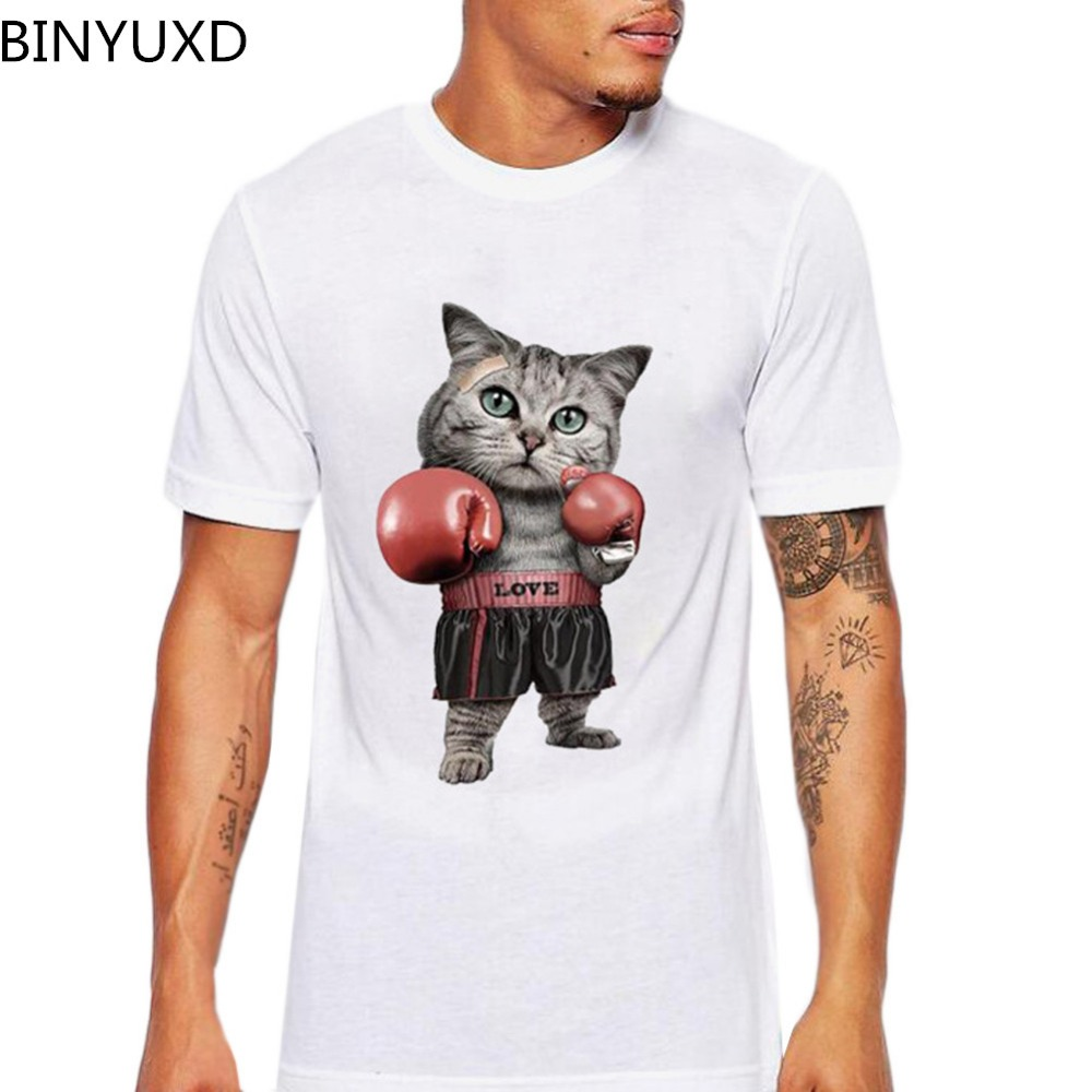 BINYUXD Men's O Neck Cotton Short Sleeve Lovely Boxinger Cat T-shirts Funny CAT Animal Men's Customized T Shirts Birthday Gift