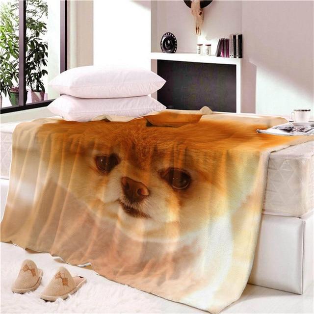 Funny Art Pet Dog Blankets Cute Pitbull Bed Sofa Couch Blanket Fleece Soft Warm Throw