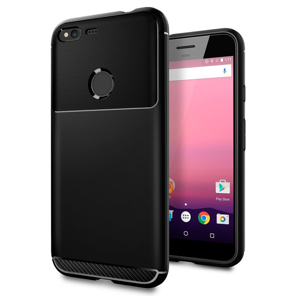 100 Original Korea Made Rugged Armor Carbon Fiber Textured Flexible TPU Drop Resistance Case for Google
