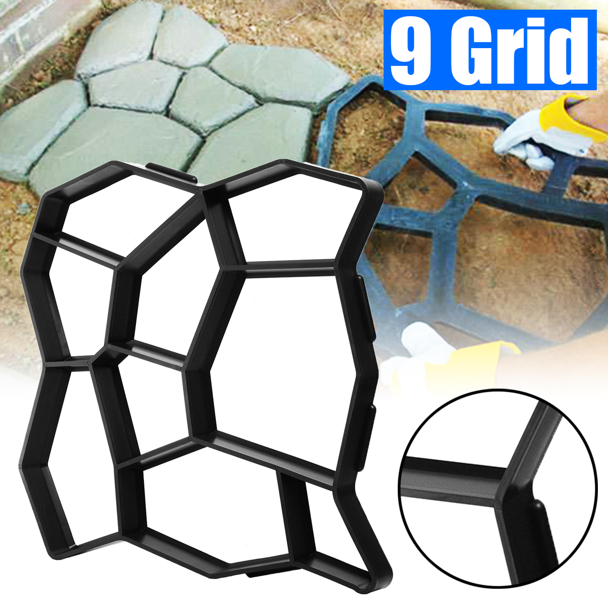 50*50*4.5cm DIY Paving Mold Stepping Stone Concrete Floor Path Maker Mould Pavement Driveway Patio Paver Path Garden Design