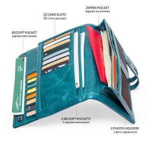 Image 3 - Portafoglio moda da donna portafoglio donna in vera pelle portafoglio lungo Design portamonete porta carte tasca per telefono alta qualità da donna