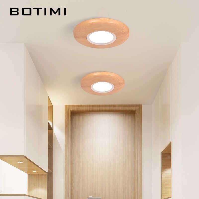 BOTIMI деревянный светодиодный потолочный светильник для коридора круглый потолочный светильник для гостиной современные осветительные приборы для кухни режущие лампы с отверстием