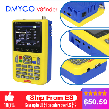 DMYCO V8 de DVB-S2 DVB-S TLC Digital por satélite SatFinder medidor satélite HD herramienta buscador de TFT LCD se sentó de lnb señal metro