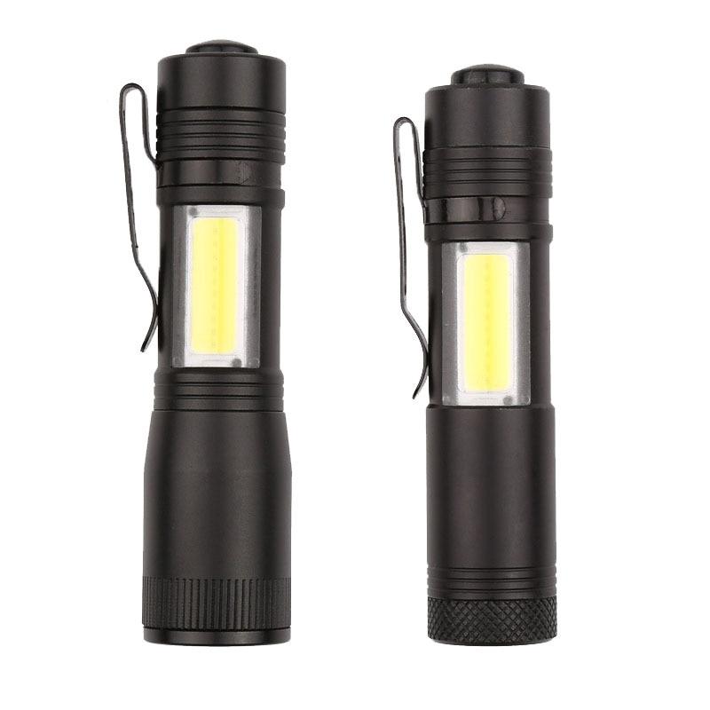 COB Flashlight With Side Light Focusable & Unfocusable  Mini Light Long-range COB Pen Light Use Home Office