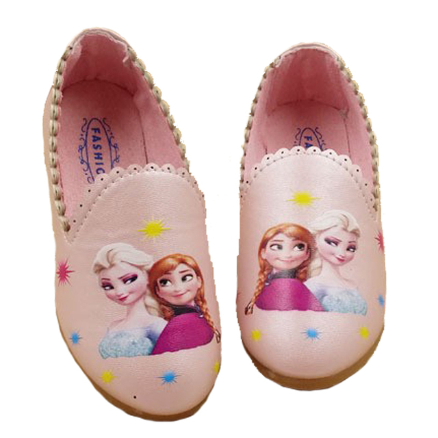 2017 Princess Anna Elsa Shoes For Girls Party Leather Shoes Cartoon Kids  Loafer Korean School Shoe Chaussure Reine Des Neiges 56b9e3096d99