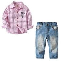 Children's Boys Clothes New Spring Autumn New Children Gentleman Suits kids Long Sleeve Plaid Blouse+Denim Pants 2Pcs Boys Sets