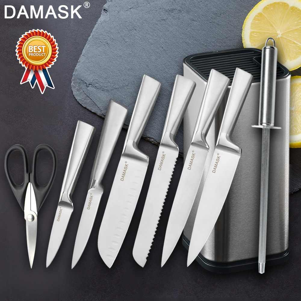 Damask Professional Chef Kitchen Knives Set 3Cr13 Stainless Steel Knife Set Knife Holder Scissors Sharpener Japanese Cleaver