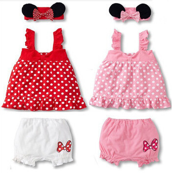 Lovely baby girl 3-piece suit: mouse ears headband + polka dot dress + white shorts/ 2 colors: Pink and Red