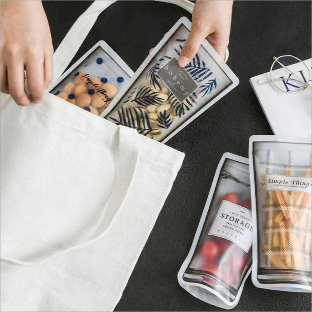 Reusable Seal Silicone Food Fresh Bag Vacuum Sealer Fruit Meat Milk Storage Bags Saran Wrap Plastic Bags **D