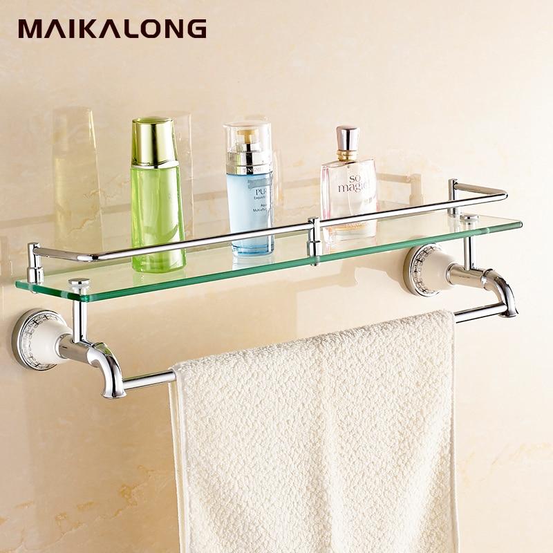 bathroom glass shelf with towel bar chrome