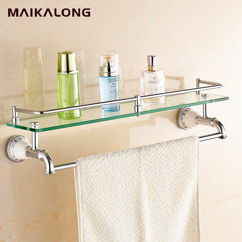 no88813 bathroom glass shelf wall mount with towel bar and rail chrome finish
