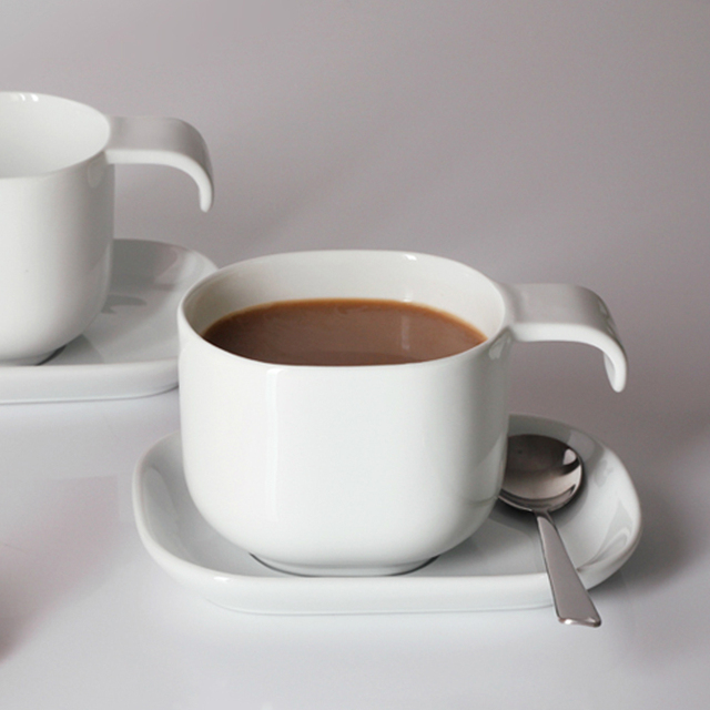 60ml Small Size Simple Ceramic Mug Set Pure White Coffee Cup And Saucer Porcelain Free