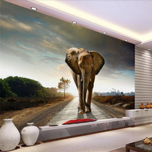 Custom 3d mural elephant background wall decoration painting wallpaper photo