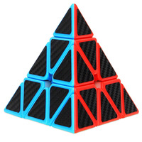 Magnetic Magic Cube Pyramid Speed Cube Triangle Carbon Fiber Sticker Twisty Puzzle For Kids Educational Toy