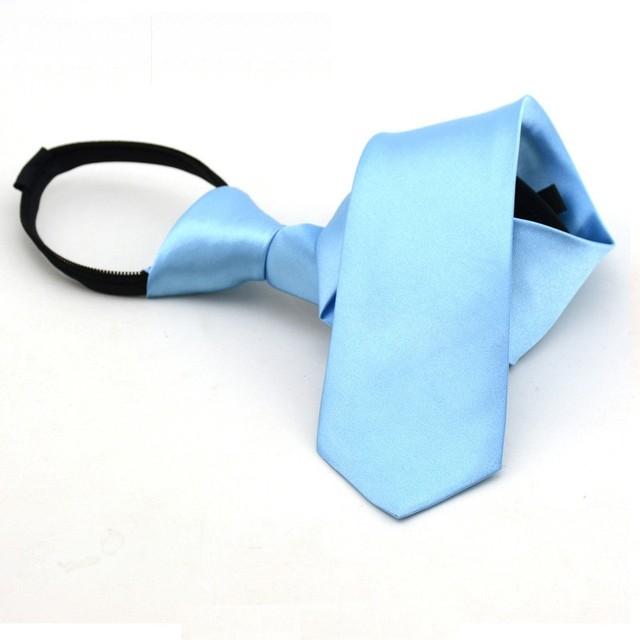 student zip tie for women 38*6cm lazy ties business zipper necktie team solid ties red dark blue 10pcs/lot
