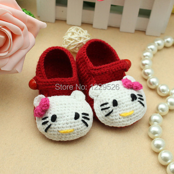 Best price lovely red cute cat crochet baby shoes new born shoes girl shoes knit shoes