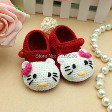 Best price lovely red cute cat crochet baby shoes / new born shoes / girl shoes / knit shoes / newborn up to 12months