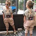 kids designer brand kids girl clothes set Leopard print head Short sleeve T-shirt leisure trousers , children girl clothing set