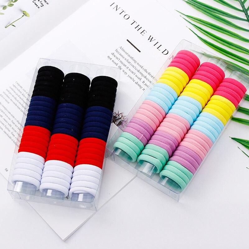 Новый 66 шт хорошее качество 3,0 см разноцветного нейлона девушки резинки для волос держатель хвост галстук Резина полосы детские аксессуары для волос