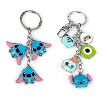 Cartoon Anime Cute Keychain Lilo & Stitch Figures Pendants Key Chain Keyring Metal Enamel Chaveiro Car Keychains Kids Gift anime cartoon lilo