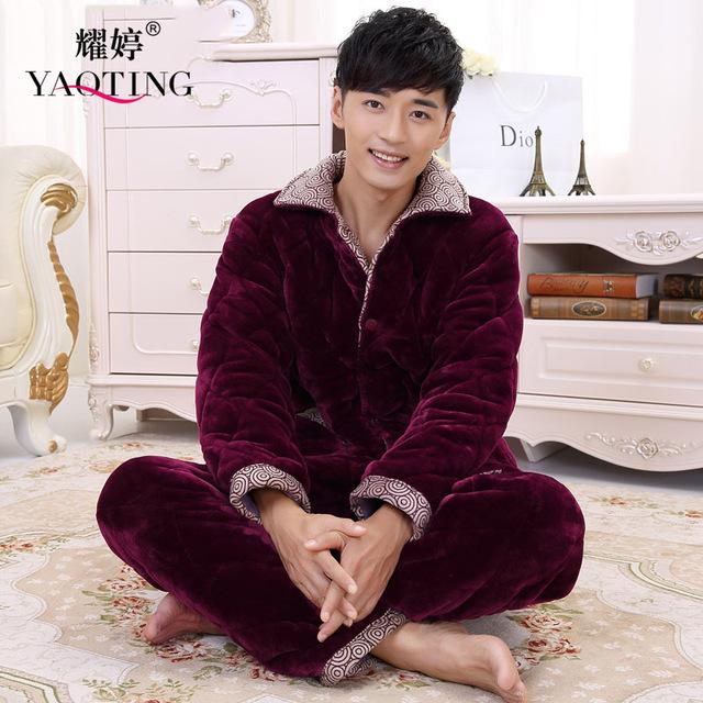 Los hombres de Manga Larga Bata de Franela Homewear Camisón Largo Botón de la Rebeca Más Tamaño Grueso Suave Otoño Invierno Cálido Pijama Conjunto XXXL