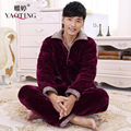 Men Bathrobe Long Sleeve Flannel Nightgown Long Button Cardigan Plus Size Thick Homewear Soft Winter Autumn Warm Pajama Set XXXL