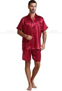 Image 3 - Męska jedwabna satynowa piżama piżama piżama krótki komplet bielizna nocna Loungewear U.S.S, M, L, XL, 2XL, 3XL, 4XL Solid _ _ 6 kolorów