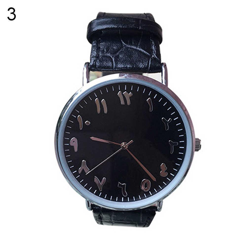 Унисекс арабские цифры искусственная кожа аналоговые кварцевые наручные часы любовник подарок для пары Женские Мужские часы дропшиппинг