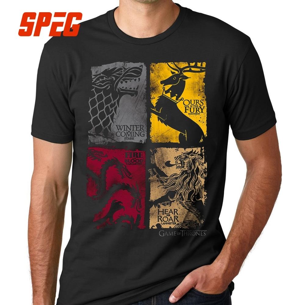 SPEG Black Game Of Thrones Vintage Tees Men T Shirt 100% Cotton 13