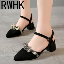 RWHK 2019 summer new Korean version of the bow pointed hollow sandals female wild word buckle ladies single shoes B411