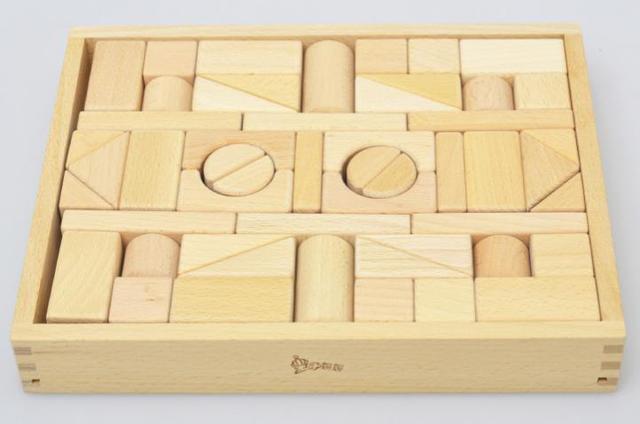 Envío gratis para niños juguetes clásicos grandes piezas de juguetes de madera, 52 unids bloques de madera, madera juguetes educativos para niños