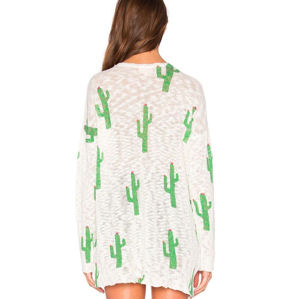 Putih Kaos Wanita Panjang Lengan Rajutan Blusas Gadis Kaktus Sweater Dicetak Musim Gugur Pullover 2017 Berongga Out Sexy Tops Harajuku Di T Shirt Dari