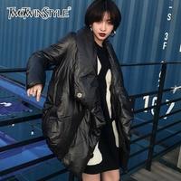 TWOTWINSTYLE Irregular Thick Women S Parkas Coats Winter Black Slpit Warm Tops Big Size Lapel Asymmetry