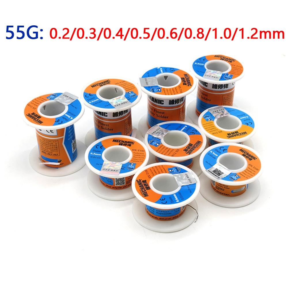 MECHANIC 55g Solder Wire Reel Rosin Core 0 2/0 3/0 4/0 6/0 8/1 0/1 2mm Low  Melting Point Soldering Tin BGA Welding Tools